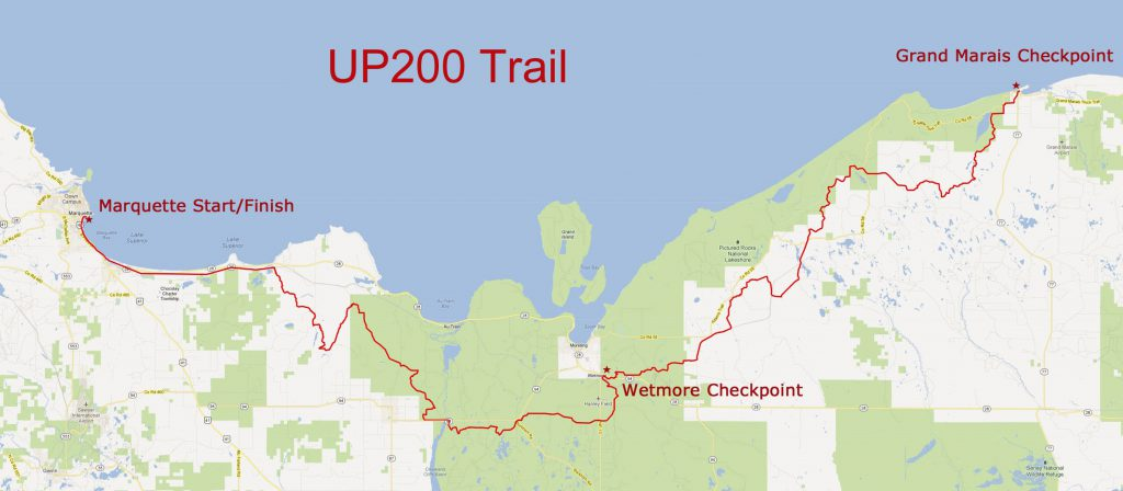 UP200 trail map